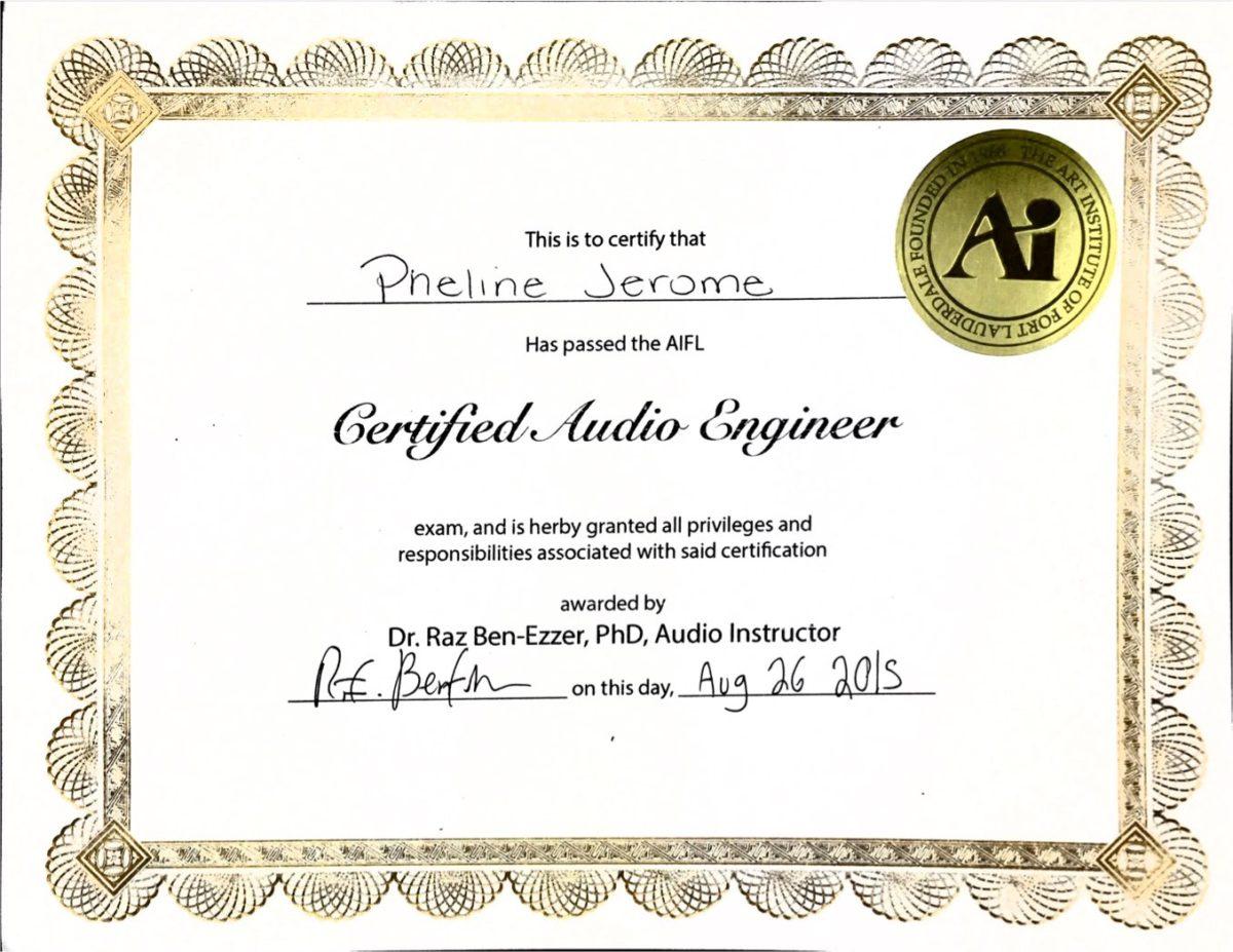 Pheline Joseph - Art Institute Of Fort Lauderdale Certified Audio Engineer