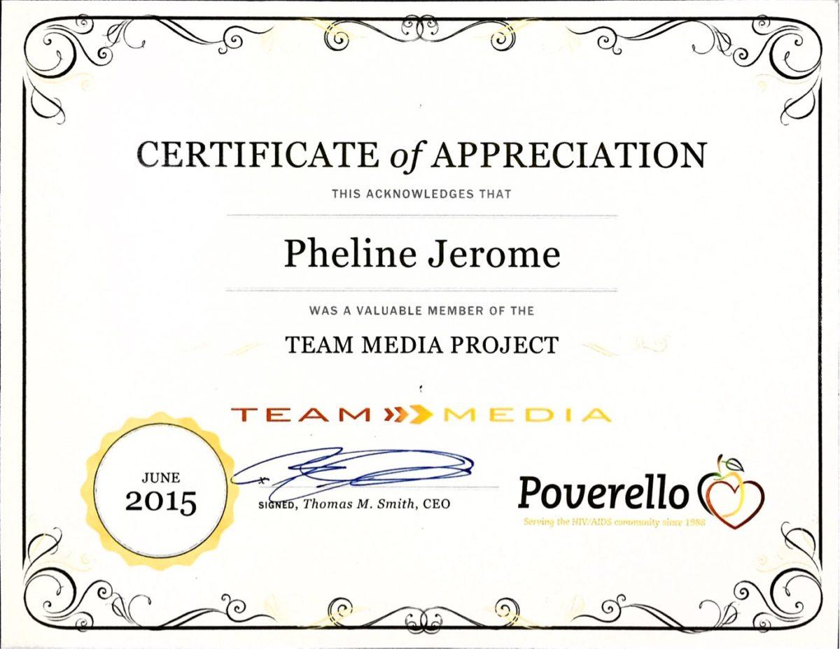 Pheline Joseph - Poverello Team Media Project